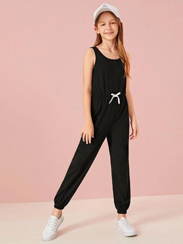 Girls Drawstring Waist Tank Jumpsuit