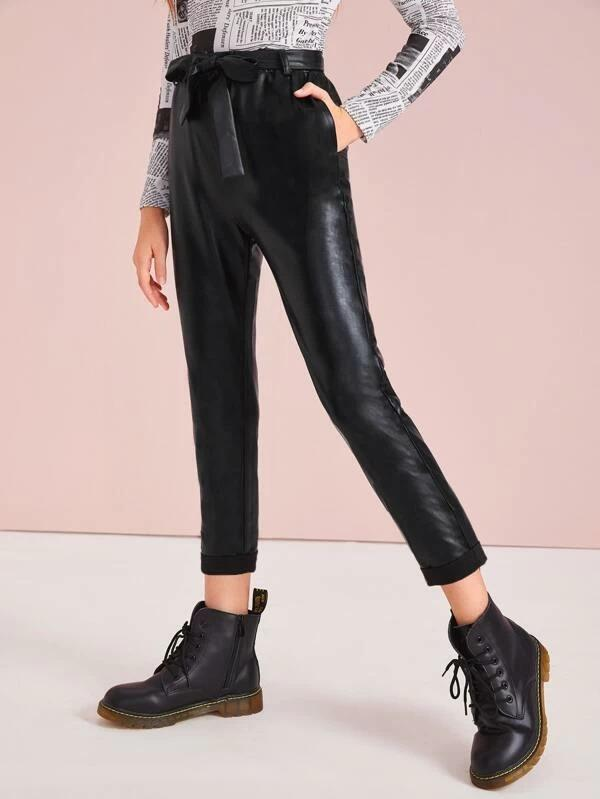 Girls Elastic Waist Belted Leather Look Pants