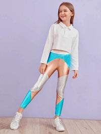 Girls Elastic Waist Colorblock Metallic Leggings