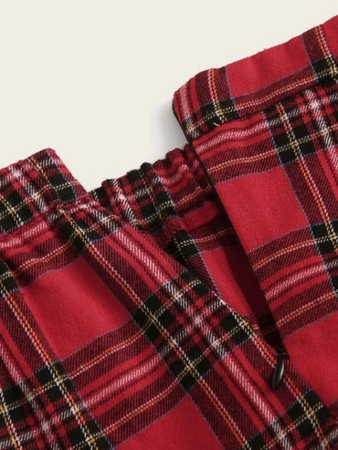 Girls Elastic Waist Tartan Skirt