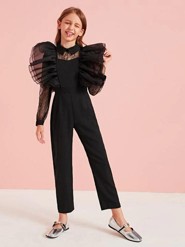 Girls Exaggerated Mesh Ruffle Trim Lace Insert Jumpsuit