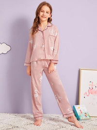 Girls Flamingo & Letter Print PJ Set