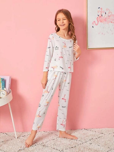 Girls Flamingo Print Pajama Set & Eye Mask