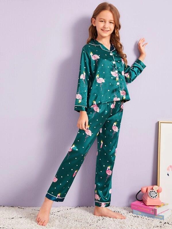 Girls Flamingo Print Polka Dot Satin PJ Set