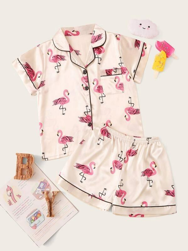 Girls Flamingo Print Satin Pajama Set