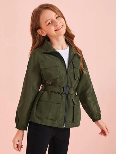 Girls Flap Pocket Zipper Up Wind Jacket