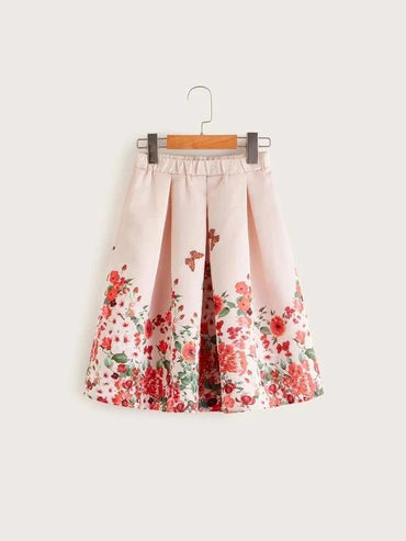 Girls Floral Print Pleated Skirt