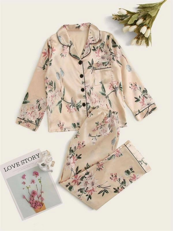 Girls Floral Print Satin PJ Set