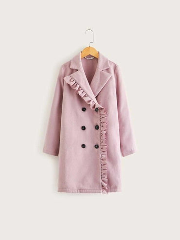 Girls Frill Trim Double Breasted Coat