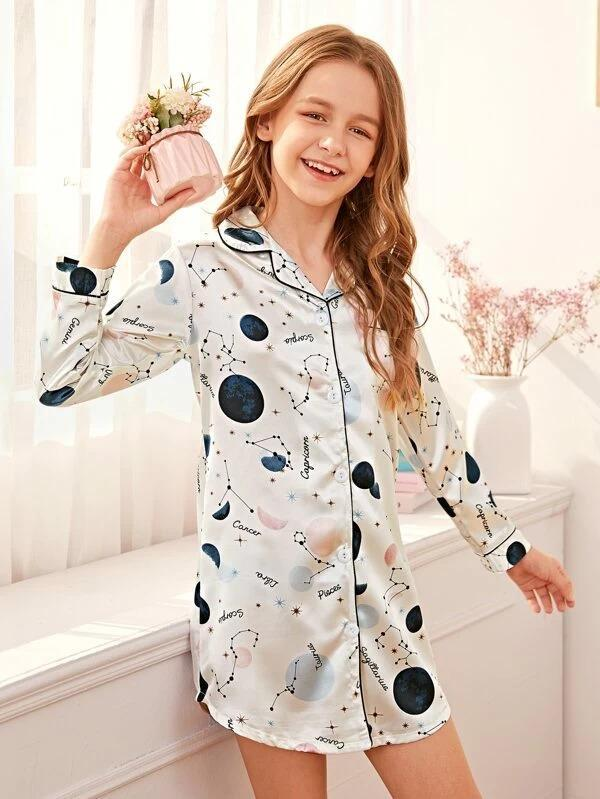 Girls Galaxy Button-Up Satin Night Dress
