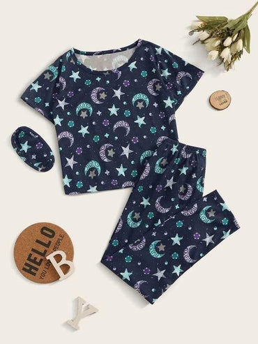 Girls Galaxy Print PJ Set With Eye Mask