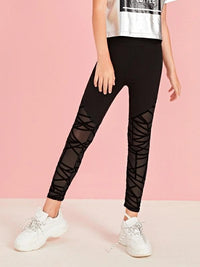 Girls Geo Mesh Panel Leggings