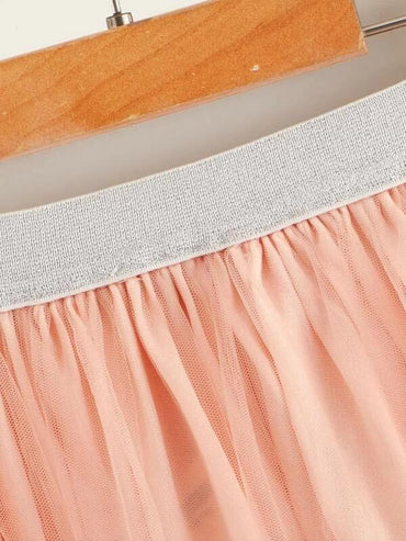 Girls Glitter Waistband Embroidery Mesh Skirt