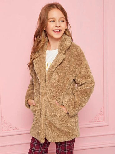 Girls Hidden Placket Teddy Coat