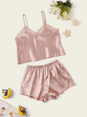 Girls Lace Trim Satin Cami PJ Set