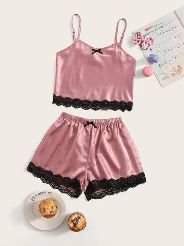 Girls Lace Trim Satin Cami Pajama Set