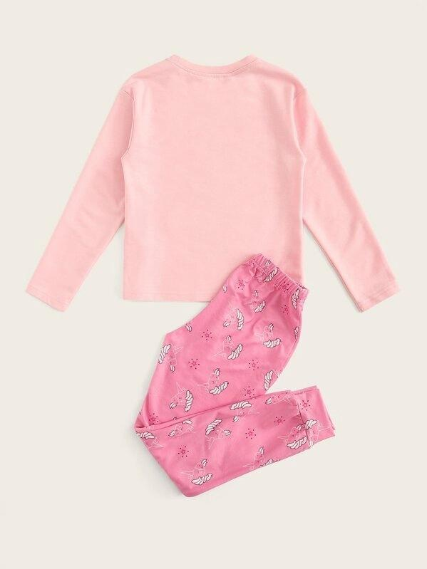 Girls Letter And Cartoon Graphic Top & Pants PJ Set