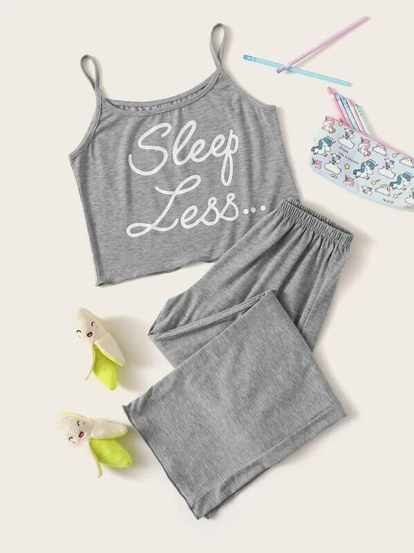 Girls Letter Graphic Cami Pajama Set