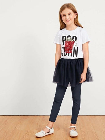 Girls Letter Graphic Sequin Popcorn Tee
