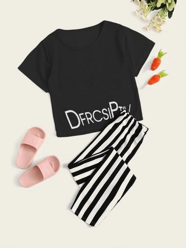 Girls Letter Graphic Striped Pajama Set