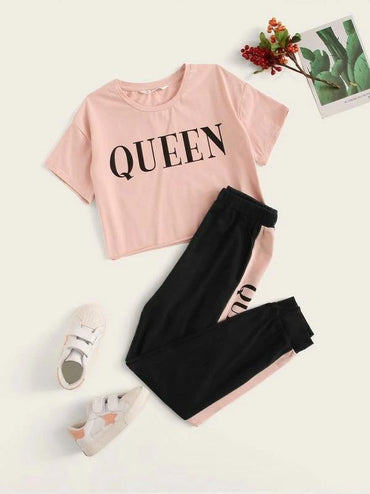 Girls Letter Graphic Top & Contrast Side Sweatpants Set