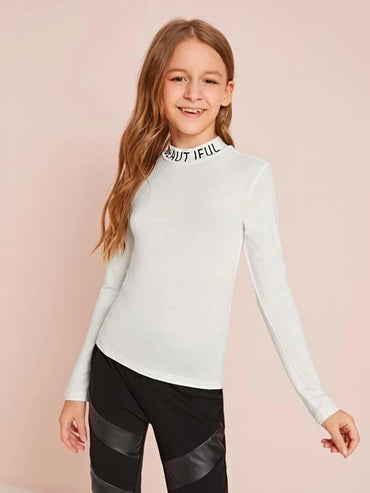 Girls Letter Print Mock Neck Fitted Top