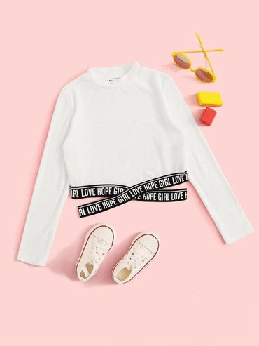 Girls Letter Tape Crisscross Hem Tee