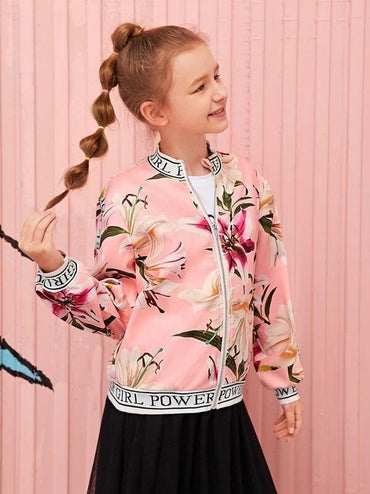 Girls Letter Tape Detail Floral Print Bomber Jacket