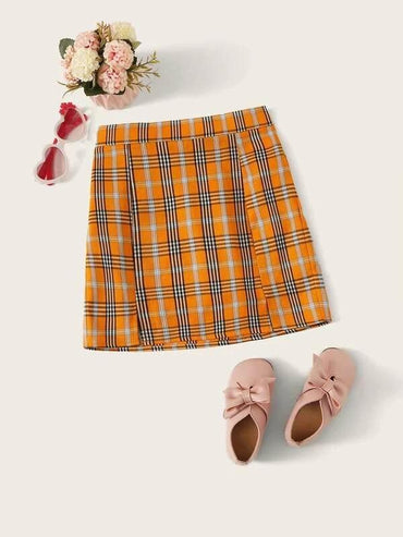 Girls M-Slit Hem Tartan Skirt
