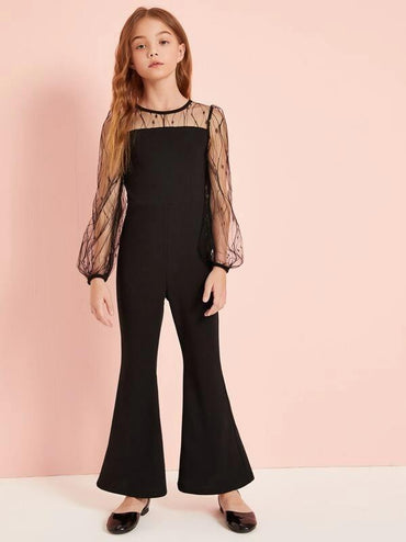 Girls Mesh Yoke Flare Leg Jumpsuit