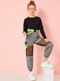Girls Neon Buckle Mesh Insert Wind Pants
