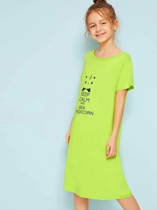 Girls Neon Lime Panda & Letter Print Night Dress