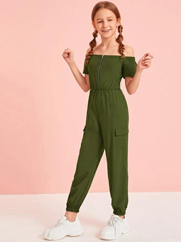 Girls Off Shoulder Zip Front Flap Pocket Side Jumpsuit