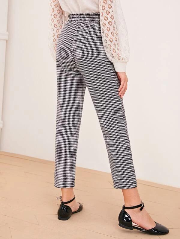 Girls Paperbag Waist Houndstooth Pants