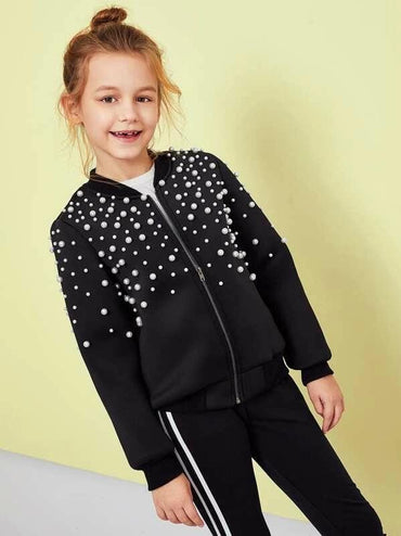 Girls Pearl Beaded Zip Up Jacket