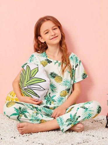 Girls Pineapple Print PJ Set With Eye Mask