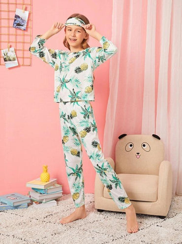 Girls Pineapple Print Pajama Set With Eye Mask