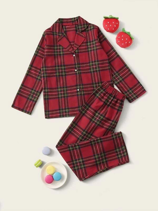 Girls Plaid Button-Up PJ Set