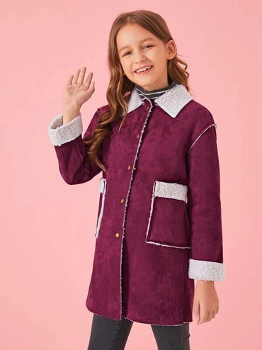 Girls Pocket Front Buttoned Faux Shearling Coat