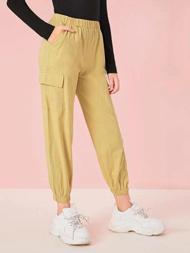 Girls Pocket Patched Utility Pants