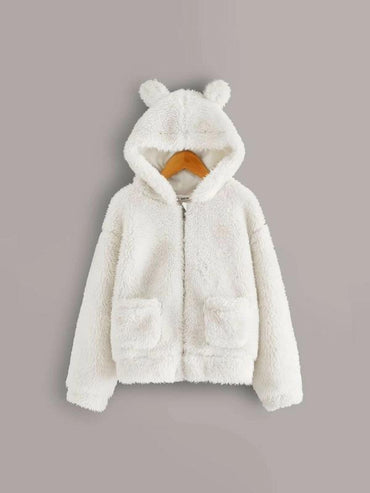 Girls Pocket Side Teddy Jacket With Ear