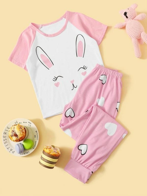 Girls Rabbit & Heart Print Pajama Set