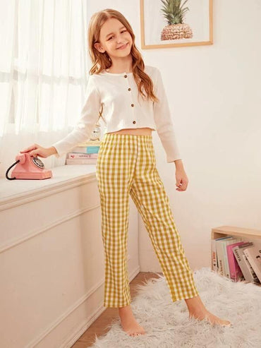 Girls Rib Gingham Button-Up PJ Set
