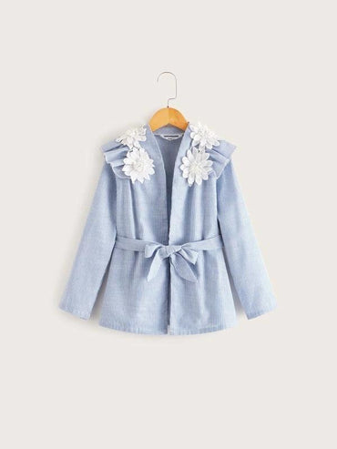 Girls Ruffle Trim Applique Detail Striped Belted Coat