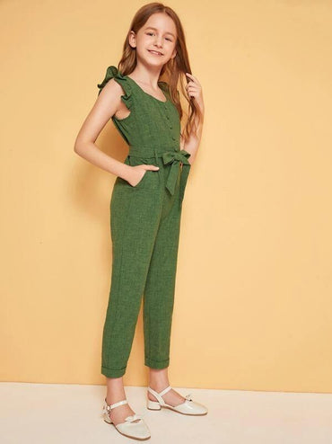 Girls Ruffle Trim Button Front Belted Jumpsuit