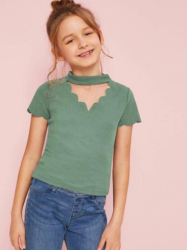 Girls Scalloped Choker Neck Ribbed Tee