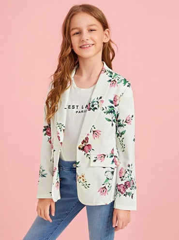 Girls Shawl Collar Floral Print Blazer