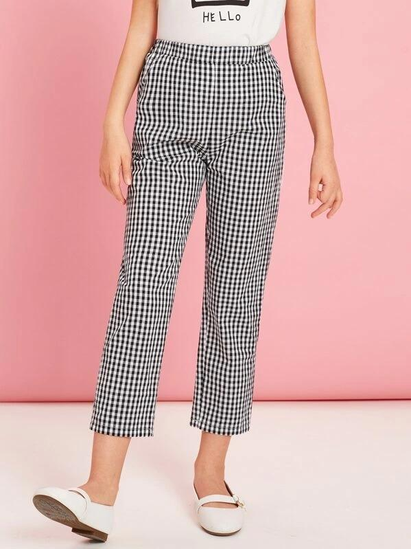 Girls Slant Pocket Gingham Print Crop Pants
