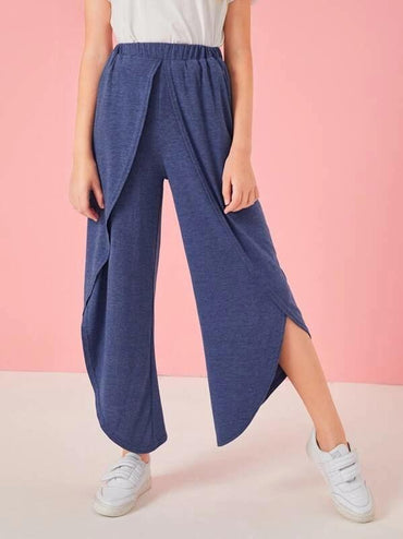 Girls Solid Wrap Pants