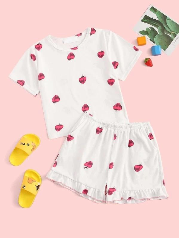 Girls Strawberry Print Ruffle Pajama Set